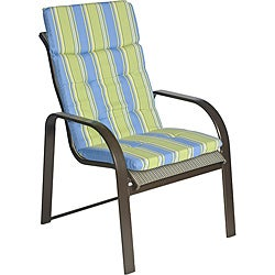 Ali Patio Polyester Blue Stripe Tufted Hi-back Outdoor Arm Chair Cushion