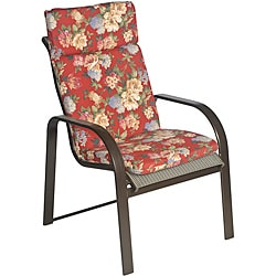 Ali Patio Polyester Crimson Red Floral Smooth Edge Hi-back Outdoor Arm Chair Cushion