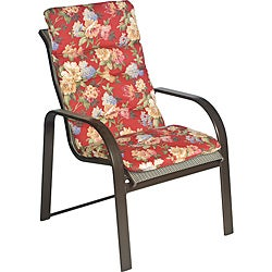 Ali Patio Polyester Crimson Red Floral Tufted Hi-back Outdoor Arm Chair Cushion