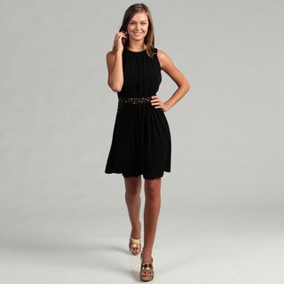 Calvin Klein Women's Black Beaded Waist Dress