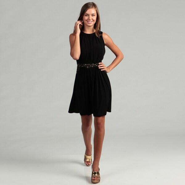 Calvin Klein Women's Black Beaded Waist Dress