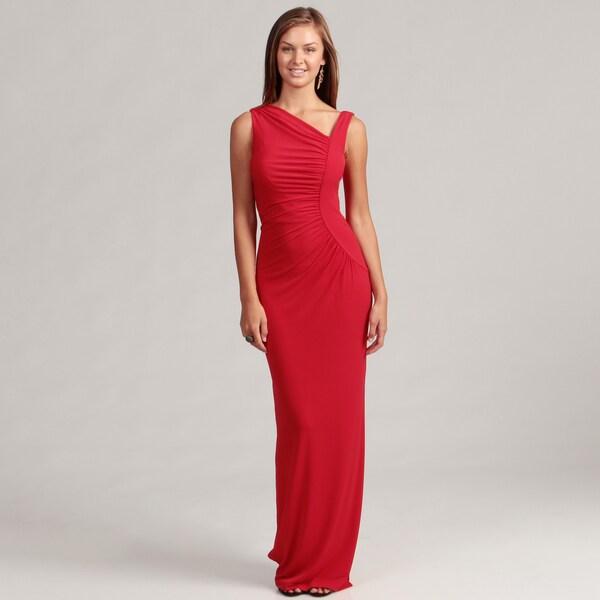 Calvin Klein Women's Red Asymmetrical Neck Gown
