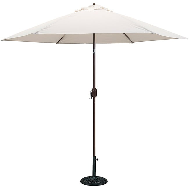 TropiShade 9-foot Natural Aluminum Bronze Crank Tilt Market Umbrella