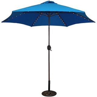 TropiShade 9-foot Royal Blue Aluminum Bronze Lighted Umbrella