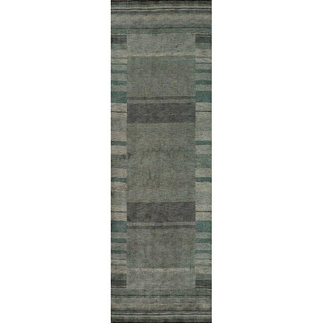 Loft Blue Gabbeh Border Hand-Loomed Wool Rug (2'6 x 8')