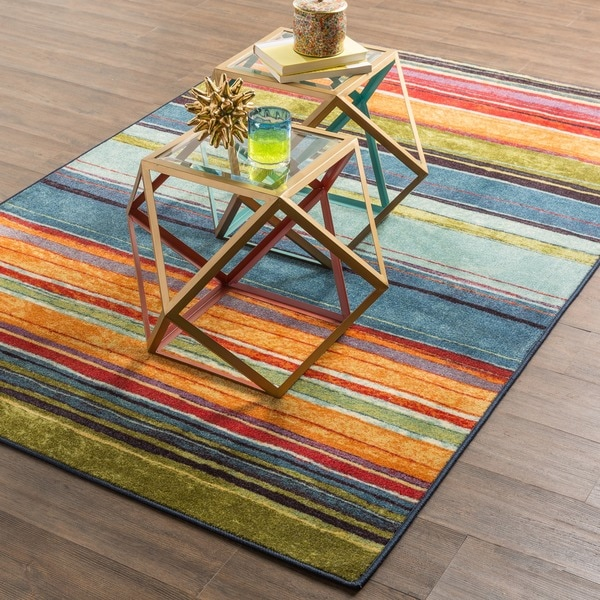 Mohawk Home Rainbow Multi Stripe Rug Rug (5' x 8')