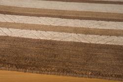 Hand-loomed Loft Brown Gabbeh Stripes Wool Rug (8' x 11')