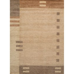 Loft Brown Dots/ Dashes Hand-Loomed Wool Rug (8' x 11')