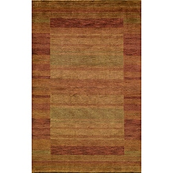 Hand-loomed Loft Rust Gabbeh Wool Border Rug (8' x 11')