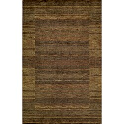 Hand-loomed Loft Brown Gabbeh Wool Border Rug (7'6 x 9'6)