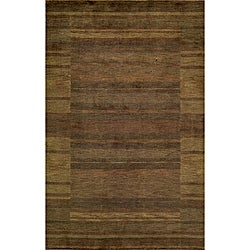 "Loft Brown Gabbeh Border Hand-Loomed Wool Rug (9'6"" x 13'6"")"