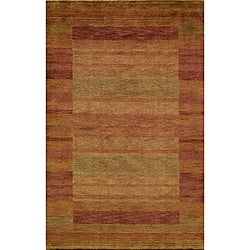 Hand-loomed Loft Rust Gabbeh Wool Border Rug (9'6 x 13'6)