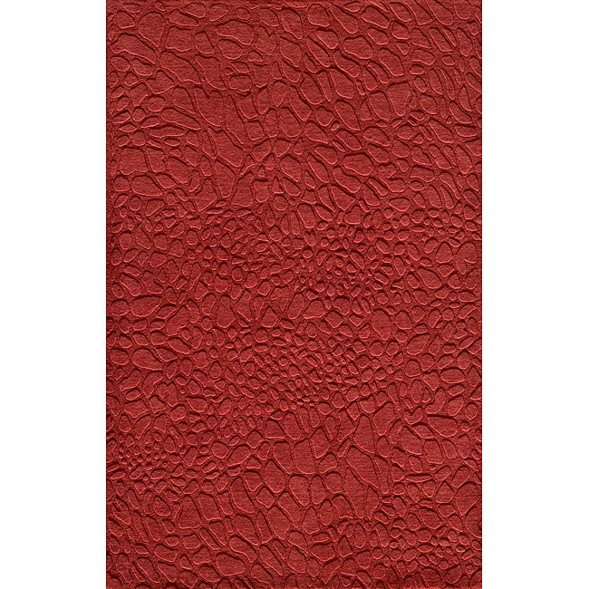 "Loft Stones Red Hand-Loomed Wool Rug (9'6"" x 13'6"")"