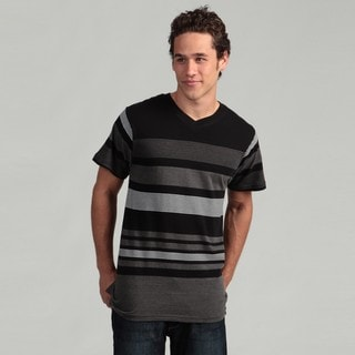 Burnside Men's Black Striped V-neck Tee