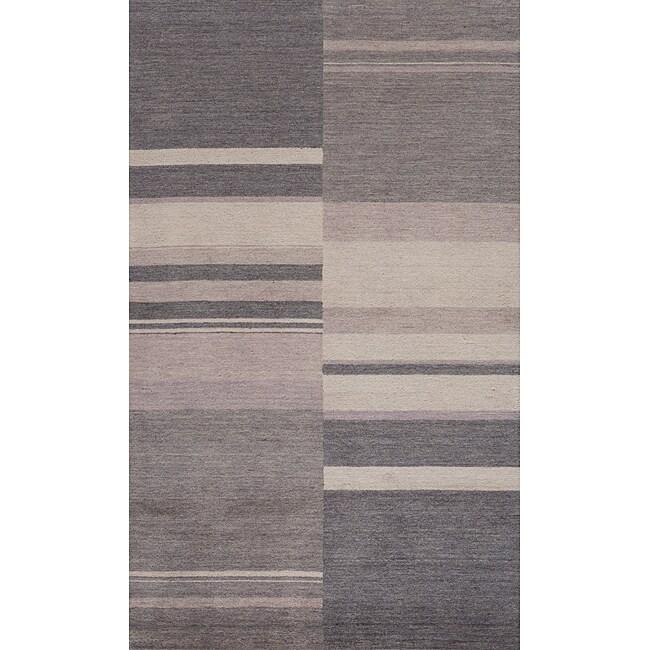 Loft Charcoal Stripes Hand-Loomed Wool Rug (2' x 3')