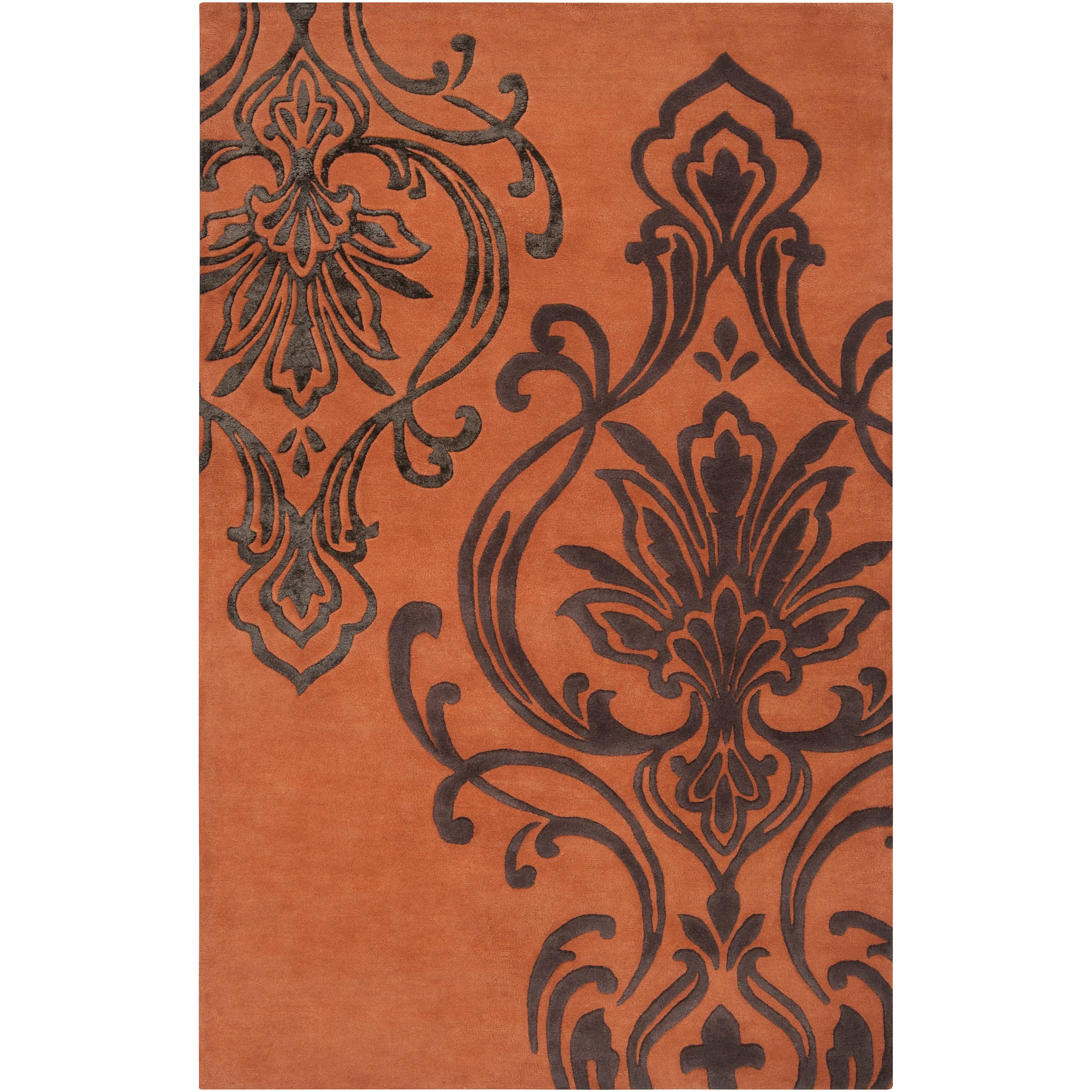 Candice Olson Hand-tufted Orange Orpheus Damask Design Wool Rug (3'3 x 5'3)