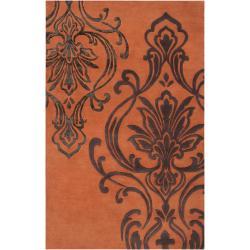 Candice Olson Hand-tufted Orange Orpheus Damask Design Wool Rug (8' x 11')