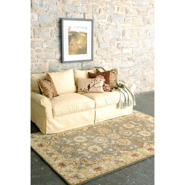Hand tufted abita gray traditional border wool rug 9 39 x for 7x9 bathroom designs