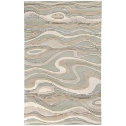 Candice Olson Hand-tufted Grey Minotaur Abstract Waves Wool Rug (8' x 11')