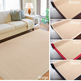 Woven Town Chocolate Sisal with Cotton Border Area Rug (8' x 10')