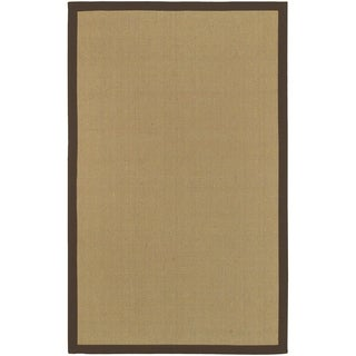 Woven Town Chocolate Sisal with Cotton Border Rug (8&#39;x10&#39;)