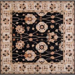 Hand-tufted Black Alsea Wool Rug (6' Square)