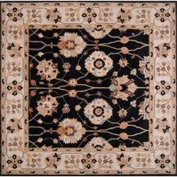 Hand-tufted Black Alsea Wool Rug (8' Square)