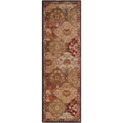 Hand-tufted Red Alum Wool Rug (3' x 12')