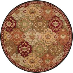 Hand-tufted Red Alum Wool Rug (6' Round)