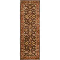 Hand-tufted Amargosa Brown Floral Border Wool Rug (3' x 12')