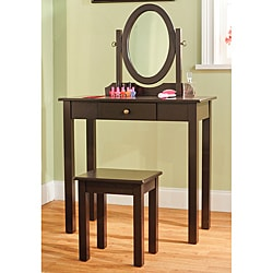 Espresso 3-piece Vanity Table Set