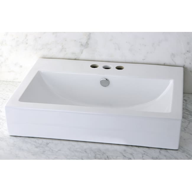Vitreous China White Rectangular Vessel Pre-Drilled Bathroom Sink