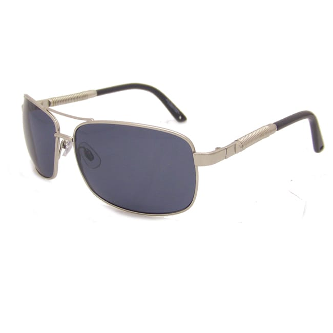 US Polo Association Men's Silver Aviator Sunglasses with Gray Polarized Lenses