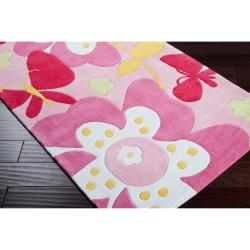 Hand-tufted Pink Machu Floral Rug (8' x 10')