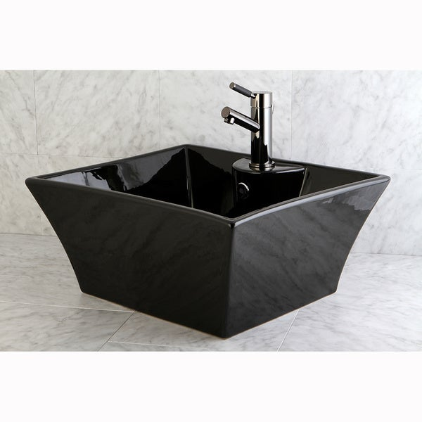 Vitreous China Black Single Hole Rectangular Topmount Bathroom Sink ...
