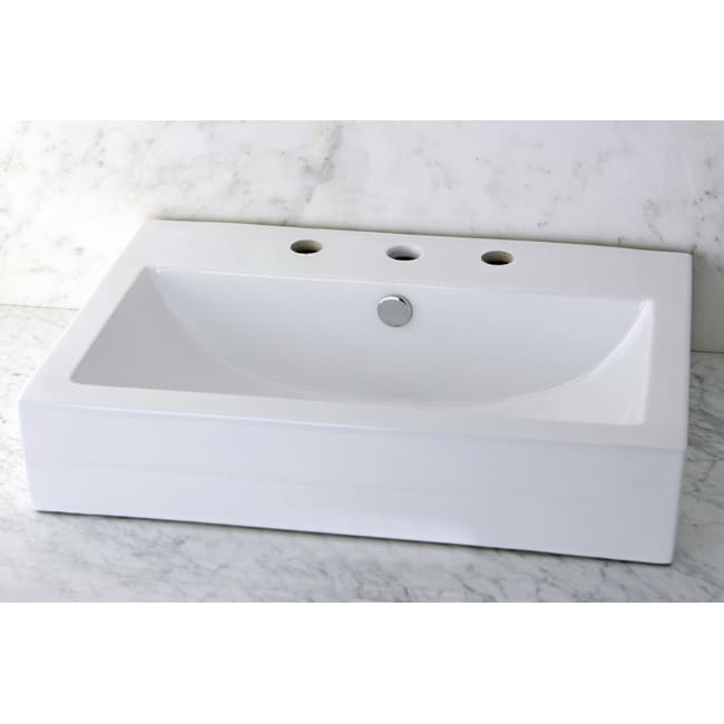 Vitreous China White Rectangular Vessel Bathroom Sink - 14118511 ...
