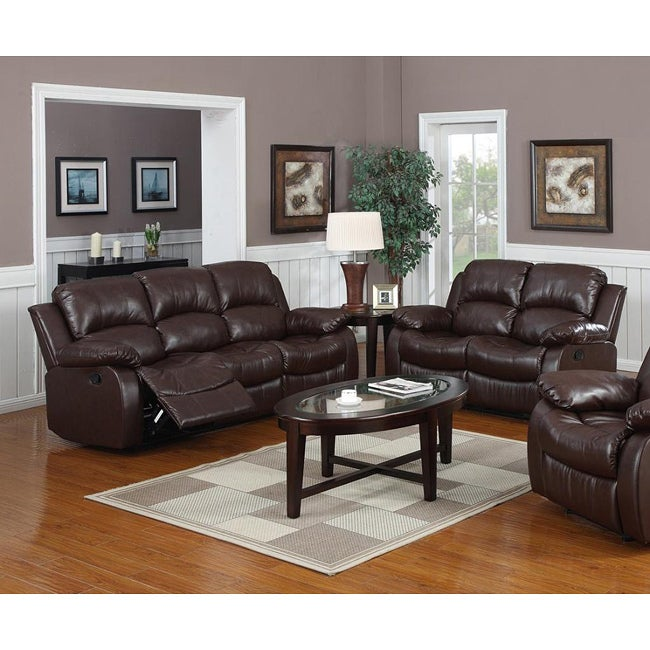 Rotunda Brown Bonded Leather Upholstery Reclining Sofa And