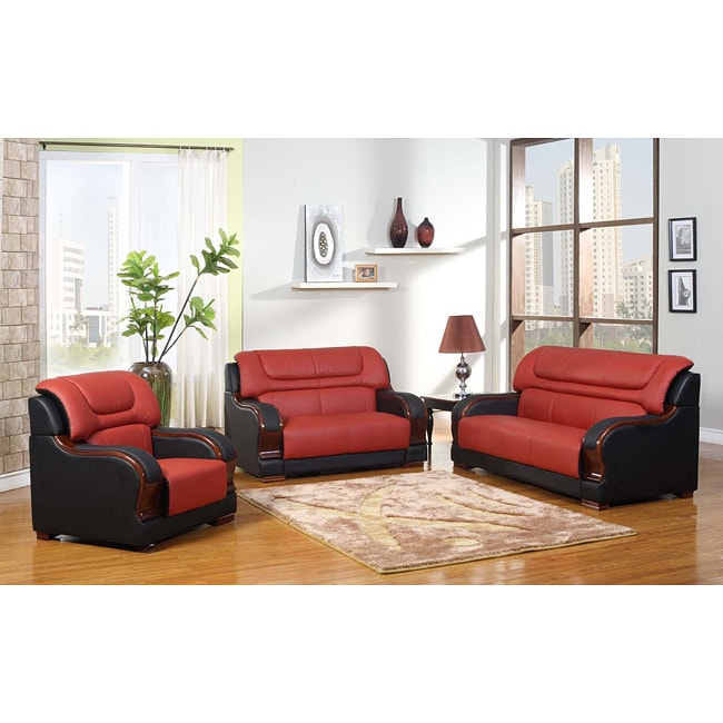 Madison Red Black Genuine Leather Upholstery Living Room Chair Loveseat Sofa