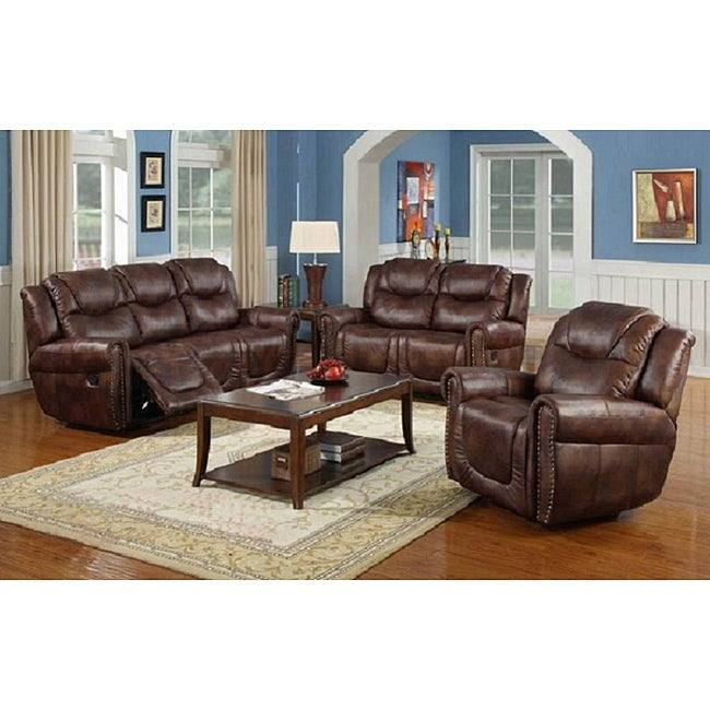 Witiker brown reclining sofa set 14118544 overstock for Living room furniture specials