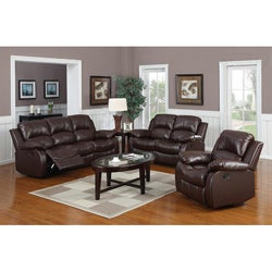 Rotunda Brown Reclining Sofa Set