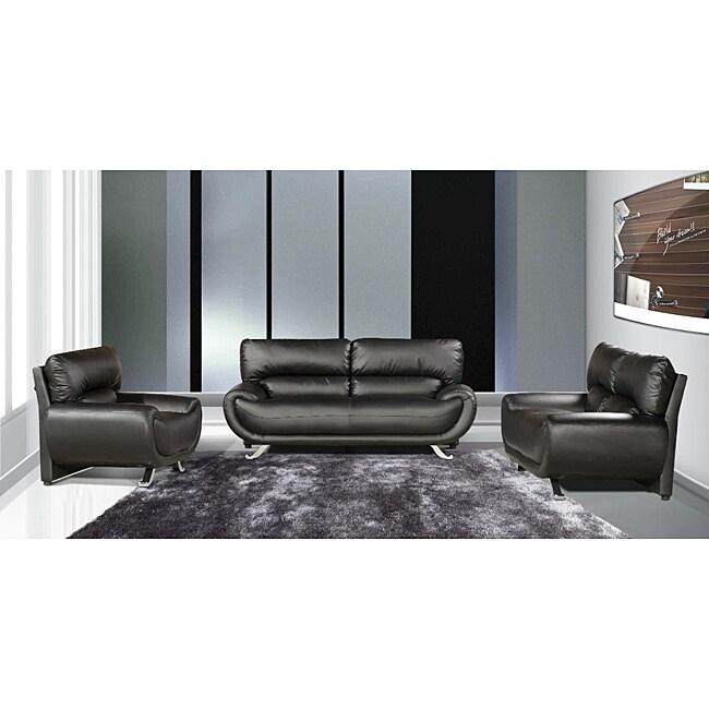Sasatona Black Faux Leather Sofa Set