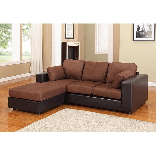 New york brown black microfiber sectional chaise sofa for Brown microfiber chaise lounge