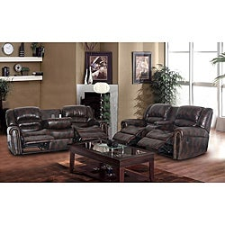 Maypal Brown Reclining Love and Sofa Set