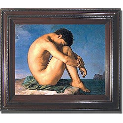 Flandrin 'Seated Male Nude' Framed Canvas Art