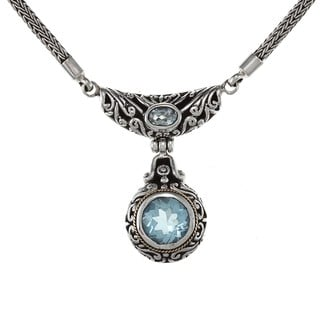 18-karat High-polish Gold/Sterling Silver Blue Topaz Necklace