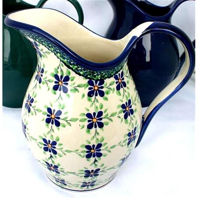 Handpainted Two-quart White/Blue Floral Stoneware Pitcher (Poland)