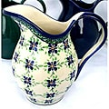 Handpainted Two-quart White/Blue Floral Stoneware Pitcher (Poland)