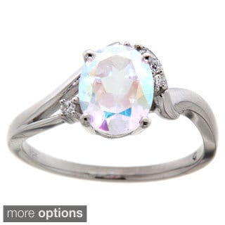 Pearlz Ocean Sterling Silver Topaz Oval and Cubic Zirconia Ring