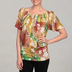24/7 Comfort Apparel Women's Green Floral Top