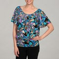 24/7 Comfort Apparel Women's Blue/ Multi Top
